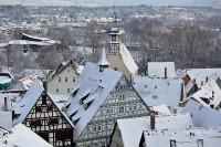 schneebedeckte Dächer über Waiblingen